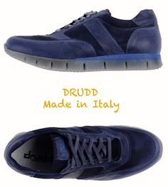 NEW $170 DRUDD MADE IN ITALY DEEP BLUE SNEAKERS. SZ US11 / EU45 #Drudd #FashionSneakers