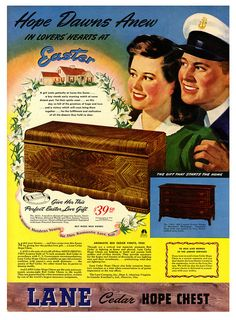 This Easter, give her a Lane Cedar Hope Chest (yes, please!). #vintage #1940s #ads #furniture #Easter
