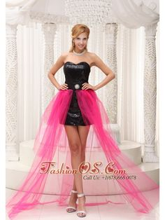 Hot Pink High-low Celebrity Dress For 2013 Black Paillette Over Skirt With Beading  http://www.fashionos.com/  http://www.facebook.com/quinceaneradress.fashionos.us  If you dream of being prom queen or queen of the homecoming court, this strapless dress is sure to take you well on your way. It features a gorgeous sweetheart bodice with sequin fabric. The black wasistband with a broach in the middle contours your curve.
