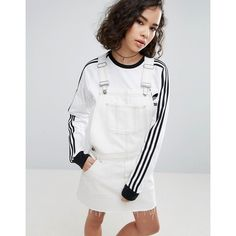 2a04636776742f ASOS Denim Dungaree Dress in Off White With Tobacco Stitch ( 53) ❤ liked on