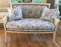 Caned Sided Settee in Blue and White - Can Ship #FrenchCountry