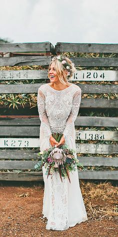 sheath high neckline with lace long sleeves rustic wedding dresses grace loves lace Boho Bride, Boho Wedding, Dream Wedding, Wedding Day, Lace Bride, Wedding Unique, Wedding 2017, Wedding Vintage, Wedding Rustic