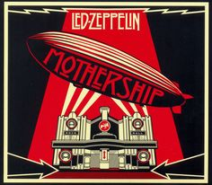 """""""Mothership"""" by Led Zeppelin, 'Atlantic', 'Rhino' Records - Graphic Cover and Illustration Design Album and Poster by Shepard Fairey (b. American) ~ [The Cover Album is a graphical interpretation of the Beresford Hotel, Glasgow, Scotland]. Rock Album Covers, Music Album Covers, Music Albums, Steve's Music, 1970s Music, Top Albums, Music Logo, Stairway To Heaven, Led Zeppelin Album Covers"""