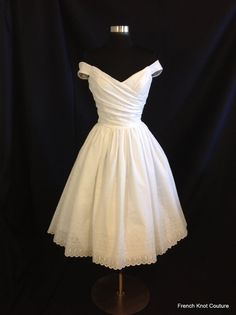 Wedding Dress Tea Length, FLIR-TINI , Off Shoulder Cotton Eyelet on Etsy, $640.00