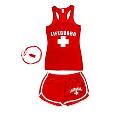 b308da2c4220 Women s Halloween Lifeguard Costumes - Red
