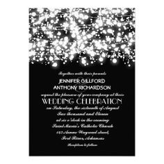 black and white string lights wedding invitation