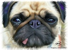 Pug Dog or Size Art Print of Digital Ipad Painting from RussellArt A2 Size, Vintage Marketplace, Dog Art, A3, Pugs, Art Prints, Digital, Painting, Animals