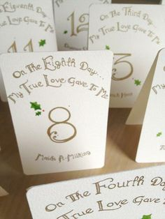Custom Calligraphy Wedding Table Place Cards by hmacdo | Hatch.co