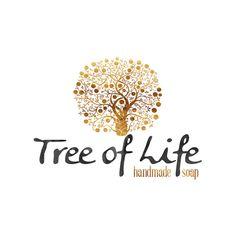 Tree of Life Logo Design, Gold Tree, Spiral Tree, Tree with Swirls, Golden Tree, Herbalist Logo, Doula Logo, Midwife Logo, Soap Logo