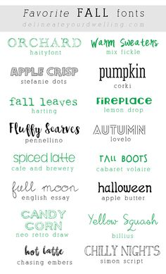 Favorite Fall Fonts - Fonts - Ideas of Fonts - Favorite FREE Fall Fonts Delineateyourdwel Fall Fonts, Holiday Fonts, Thanksgiving Fonts, Silhouette Fonts, Cricut Fonts, Different Fonts, Typography Fonts, Typography Design, Graphic Design