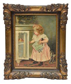 "SONIA EBLING (1918-2006). ""A Menina Travessa"", óleo s/ tela, 30 X 23. Assinado (Sonia) no c."