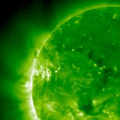 Friday, May 16, 2014: An active region on the sun ejected at least half a dozen bursts of plasma. Several clouds of the plasma spread across parts of the solar surface over two days (Apr. 19-21, 2014). Here the active region is seen as the bright white areas at left of center on the sun. These coronal mass ejections (CMEs) headed out into space as well. This still from a movie taken by the ultraviolet imager on the STEREO (Ahead) spacecraft shows the CMEs spread out like a curtain above the…