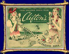 Clifton's Cafeteria souvenir photo-insert postcard, Los Angeles, California
