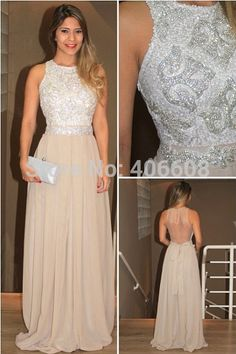 Find More Prom Dresses Information about Long High Neck Vestido Evening Dresses 2015 Chiffon Sequins Beaded Prom Gowns,High Quality dress skater,China dress strawberry Suppliers, Cheap gown bolero from Forever Lover Bridal on Aliexpress.com