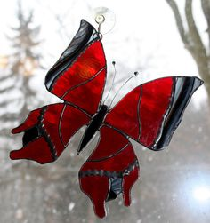 Stained Glass Butterfly Suncatcher Red and Black by BerlinGlass
