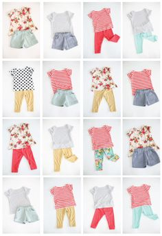 a cute and colorful girls handmade summer wardrobe capsule wardrobe girl summer Fashion Kids, Little Girl Fashion, Little Girl Dresses, Toddler Fashion, Toddler Outfits, Kids Wardrobe, Summer Wardrobe, Capsule Wardrobe, Outfits Niños