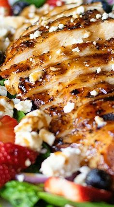 Chicken & Strawberry Salad with Balsamic Poppy Seed Dressing