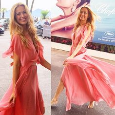 Model @pnemcova was spotted at #Cannes, France, for @festivaldecannes in a #BCBGRunway Spring 2015 dress. She turned heads as she twirled barefoot in the elegant floor-sweeping ensemble. Shop via link in bio. #BCBGMoment
