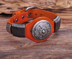 """- Material: Genuine Leather - Length: 6.5"""" - 8.25"""" Adjustable - Metal: Copper Alloy - Clasp Type: Easy-Hook"""