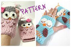 Crochet Pattern Gloves Pattern Owl Gloves Pattern by AllSoCute, $3.45