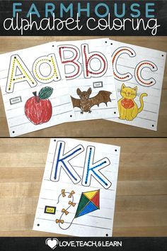 These alphabet coloring pages are a cute and fun way to review the basic letter sounds. Primary Teaching, Teaching Kids, Kids Learning, Teaching Resources, Kindergarten Activities, Fun Activities, Primary English, Farm House Colors, Alphabet Coloring Pages
