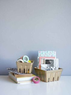 Spray paint your berry baskets for a cute desk organizer.