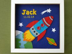 Space Theme Nursery Decor Personalised Handmade by KJsWorkshop, Space Themed Nursery, Nursery Themes, Nursery Decor, Cushion Inspiration, Felt Pictures, Baby Room Design, Nursery Signs, Personalized Baby Gifts, Christening Gifts