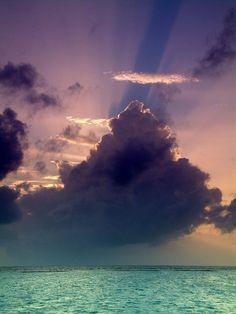ocean, sky, clouds, sun
