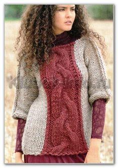 Вязание спицами. Двухцветный пуловер с цельновязанными рукавами 3/4, из толстой пряжи. Размеры: 36/38 (42/44) 48/50