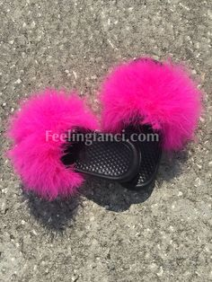 b73c2f47f066 Hot Pink Faux Fur Nike Slides Fuzzy Sandals