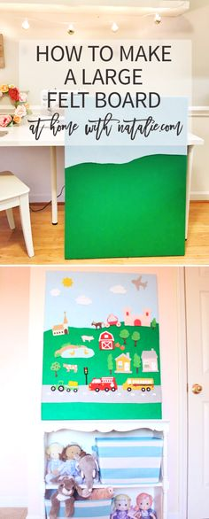 I love felt crafts! Our smaller felt board has been one of my favorite DIY's for the kids! Every time I shared pictures of it, people commented on how they were wanting to make one. So I thou… Home Project for kids Large Felt Board Tutorial Flannel Board Stories, Felt Board Stories, Felt Stories, Flannel Boards, Diy For Kids, Crafts For Kids, Sewing Projects For Kids, Felt Projects, Sewing Crafts