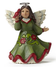 Look what I found on #zulily! Red & Green Angel with Cardinal Figurine…
