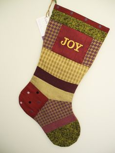 One-of-a-Kind Embroidered Heirloom Patchwork Christmas Stocking sewn with Up-Cycled Designer Fabrics by VanDijkDesigns on Etsy Fabric Design, Christmas Stockings, Joy, Sewing, Holiday Decor, Fabrics, Home Decor, Ideas, Scrappy Quilts