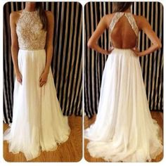 Beaded Open Back Prom Dress, like it!!