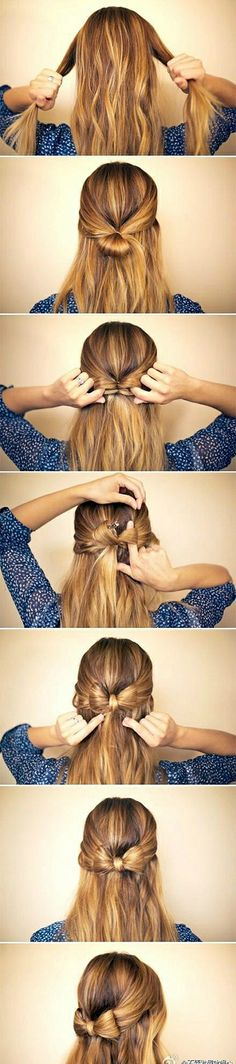 hair styles for long hair  super easy way to make a hair bow. LOVE IT