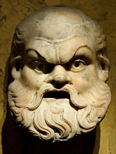 Silenus, [In Greek mythology, Silenus was a companion and tutor to the wine god Dionysus @Wikipedia] Roman mask (marble), 1st century AD, (Kunsthistorisches Museum, Vienna).