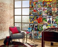 Darron would love this room! The vintage comics make great wall paper!
