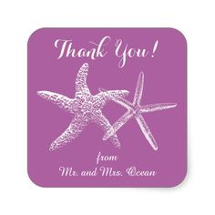 Radiant Orchid Starfish Thank You Favor Labels Sticker