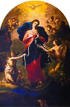 """""""Maria che scioglie i nodi"""" è un titolo con cui la Madre di Dio è onorata e invocata. È una novena molto seguita soprattutto nei casi di gravi difficoltà."""