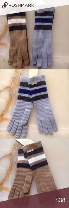 """Nwt Michael Kors Rugby Striped Fireman Long Gloves Nwt Michael Kors Rugby Striped Fireman Long Gloves Classic stripes pattern the long cuffs of these cozy rib-knit gloves crafted with a whisper of wool for extra warmth. - 9"""" length - 70% acrylic, 30% wool - Hand wash cold, dry flat MICHAEL Michael Kors Accessories Gloves & Mittens"""