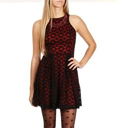 Black/Red Mesh Retro Design Dress