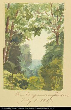 """In Frogmore Garden"". Watercolour, by Queen Victoria, 1 July 1869. Queen Victoria's Journals (http://www.queenvictoriasjournals.org). RL K.40. f.72 (Sketchbook illustration)."