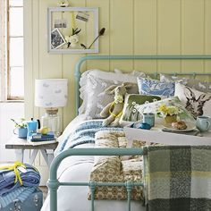 Yellow country bedroom with blue bedstead | Bedroom | Country Homes & Interiors | Housetohome.co.uk
