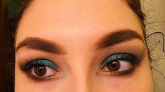 Trucco smoky verde acqua e marrone + labbra viola