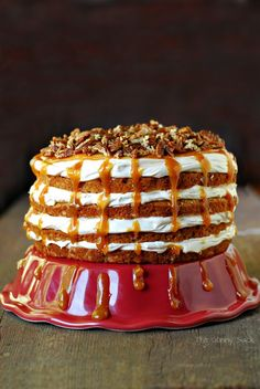 Caramel Apple Mousse Cake. Combine 1 spice cake mix, 3/4c. apple sauce, ½c.milk 4 eggs, & 1/3c. oil.Add 2 apples, peeled & chopped.Bake 350 25 min. in 2 round pans.Cool & cut in 1/2. Layer w/ Caramel Mousse;Combine 8 oz cream cheese, softened,1c. powdered sugar,16 oz whipped topping, thawed. Top w/1/2c. caramel dip &1/2c. toasted pecans.Adapted from Taste of Home