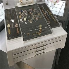 My best titling choice was Fashion Jewelry Security Drawers Built-In. Jewelry Drawer, Fashion Jewelry Stores, Store Fixtures, Business Card Holders, I Am Awesome, Drawers, Building, I'm Awesome, Cabinet Drawers