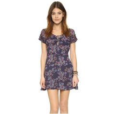 Free People Yours Truly Printed Mini Dress ($125) ❤ liked on Polyvore featuring dresses, dark blue, floral chiffon dress, v neck dress, purple chiffon dress, short floral dresses and short chiffon dress