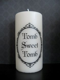 Tomb Sweet Tomb Pillar Candle by BurkeHareCo on Etsy