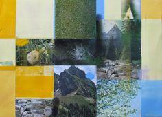 Sandra Higgins- Ridge Intrusion acrylic stencil, photomontage and pastel on paper mounted on board Art Advisor, Photomontage, The Fresh, Alps, Wild Flowers, Stencil, Illusions, Fantasy, World