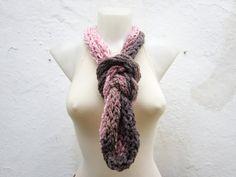 Crochet Scarf infinity Finger Knitting Scarf Pink Brown  by nurlu, $19.00